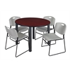 "Kee 48"" Round Breakroom Table- Mahogany/ Black & 4 Zeng Stack Chairs- Grey"