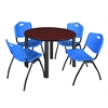 """Kee 48"""" Round Breakroom Table- Mahogany/ Black & 4 'M' Stack Chairs- Blue"""