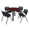 "Kee 48"" Round Breakroom Table- Mahogany/ Black & 4 'M' Stack Chairs- Black"
