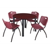 "Kee 48"" Round Breakroom Table- Mahogany/ Black & 4 'M' Stack Chairs- Burgundy"