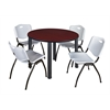 """Kee 48"""" Round Breakroom Table- Mahogany/ Black & 4 'M' Stack Chairs- Grey"""