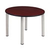 "Kee 48"" Round Breakroom Table- Mahogany/ Chrome"