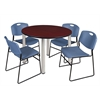 """Kee 48"""" Round Breakroom Table- Mahogany/ Chrome & 4 Zeng Stack Chairs- Blue"""