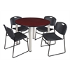 "Kee 48"" Round Breakroom Table- Mahogany/ Chrome & 4 Zeng Stack Chairs- Black"