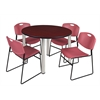 "Kee 48"" Round Breakroom Table- Mahogany/ Chrome & 4 Zeng Stack Chairs- Burgundy"