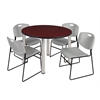 "Kee 48"" Round Breakroom Table- Mahogany/ Chrome & 4 Zeng Stack Chairs- Grey"