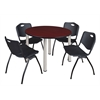 "Kee 48"" Round Breakroom Table- Mahogany/ Chrome & 4 'M' Stack Chairs- Black"