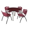 "Kee 48"" Round Breakroom Table- Mahogany/ Chrome & 4 'M' Stack Chairs- Burgundy"