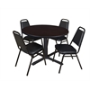 "Cain 48"" Round Breakroom Table- Mocha Walnut & 4 Restaurant Stack Chairs- Black"