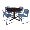 "Cain 48"" Round Breakroom Table- Mocha Walnut & 4 Zeng Stack Chairs- Blue"