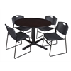 "Cain 48"" Round Breakroom Table- Mocha Walnut & 4 Zeng Stack Chairs- Black"