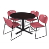 "Cain 48"" Round Breakroom Table- Mocha Walnut & 4 Zeng Stack Chairs- Burgundy"