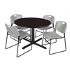 "Cain 48"" Round Breakroom Table- Mocha Walnut & 4 Zeng Stack Chairs- Grey"