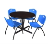 "Cain 48"" Round Breakroom Table- Mocha Walnut & 4 'M' Stack Chairs- Blue"