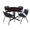 """Cain 48"""" Round Breakroom Table- Mocha Walnut & 4 'M' Stack Chairs- Black"""