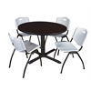 "Cain 48"" Round Breakroom Table- Mocha Walnut & 4 'M' Stack Chairs- Grey"