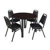 "Kee 48"" Round Breakroom Table- Mocha Walnut/ Black & 4 Restaurant Stack Chairs- Black"