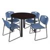 "Kee 48"" Round Breakroom Table- Mocha Walnut/ Black & 4 Zeng Stack Chairs- Blue"
