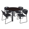 "Kee 48"" Round Breakroom Table- Mocha Walnut/ Black & 4 Zeng Stack Chairs- Black"