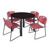 "Kee 48"" Round Breakroom Table- Mocha Walnut/ Black & 4 Zeng Stack Chairs- Burgundy"