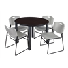 "Kee 48"" Round Breakroom Table- Mocha Walnut/ Black & 4 Zeng Stack Chairs- Grey"