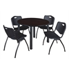 "Kee 48"" Round Breakroom Table- Mocha Walnut/ Black & 4 'M' Stack Chairs- Black"