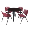 "Kee 48"" Round Breakroom Table- Mocha Walnut/ Black & 4 'M' Stack Chairs- Burgundy"