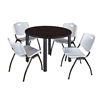 "Kee 48"" Round Breakroom Table- Mocha Walnut/ Black & 4 'M' Stack Chairs- Grey"