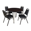 "Kee 48"" Round Breakroom Table- Mocha Walnut/ Chrome & 4 Restaurant Stack Chairs- Black"