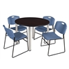 "Kee 48"" Round Breakroom Table- Mocha Walnut/ Chrome & 4 Zeng Stack Chairs- Blue"