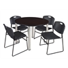 "Kee 48"" Round Breakroom Table- Mocha Walnut/ Chrome & 4 Zeng Stack Chairs- Black"