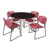"Kee 48"" Round Breakroom Table- Mocha Walnut/ Chrome & 4 Zeng Stack Chairs- Burgundy"