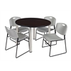 "Kee 48"" Round Breakroom Table- Mocha Walnut/ Chrome & 4 Zeng Stack Chairs- Grey"