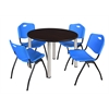 "Kee 48"" Round Breakroom Table- Mocha Walnut/ Chrome & 4 'M' Stack Chairs- Blue"