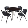 "Kee 48"" Round Breakroom Table- Mocha Walnut/ Chrome & 4 'M' Stack Chairs- Black"