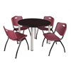 "Kee 48"" Round Breakroom Table- Mocha Walnut/ Chrome & 4 'M' Stack Chairs- Burgundy"