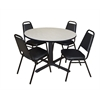 "Cain 48"" Round Breakroom Table- Maple & 4 Restaurant Stack Chairs- Black"
