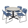 "Cain 48"" Round Breakroom Table- Maple & 4 Zeng Stack Chairs- Blue"