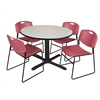"Cain 48"" Round Breakroom Table- Maple & 4 Zeng Stack Chairs- Burgundy"