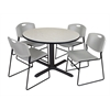 "Cain 48"" Round Breakroom Table- Maple & 4 Zeng Stack Chairs- Grey"