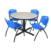 "Cain 48"" Round Breakroom Table- Maple & 4 'M' Stack Chairs- Blue"