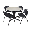 "Cain 48"" Round Breakroom Table- Maple & 4 'M' Stack Chairs- Black"