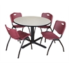 "Cain 48"" Round Breakroom Table- Maple & 4 'M' Stack Chairs- Burgundy"