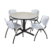 "Cain 48"" Round Breakroom Table- Maple & 4 'M' Stack Chairs- Grey"