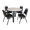 "Kee 48"" Round Breakroom Table- Maple/ Black & 4 Restaurant Stack Chairs- Black"