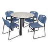 "Kee 48"" Round Breakroom Table- Maple/ Black & 4 Zeng Stack Chairs- Blue"