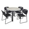 "Kee 48"" Round Breakroom Table- Maple/ Black & 4 Zeng Stack Chairs- Black"