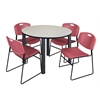 "Kee 48"" Round Breakroom Table- Maple/ Black & 4 Zeng Stack Chairs- Burgundy"