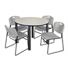 "Kee 48"" Round Breakroom Table- Maple/ Black & 4 Zeng Stack Chairs- Grey"