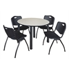 "Kee 48"" Round Breakroom Table- Maple/ Black & 4 'M' Stack Chairs- Black"